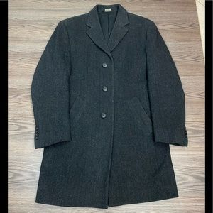 Jos A Bank Charcoal Herringbone Overcoat 38R